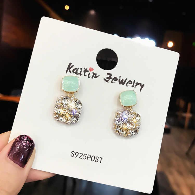 Модные циркониевые Висячие серьги для женщин геометрические заработки квадратные сережки серьги-гвоздики ювелирные изделия из жемчуга красивые серьги ухо