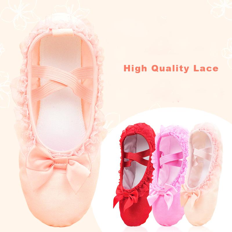 Sales Ballet Dance Shoes Girls Toddler Ballet Slippers Lace Canvas Slip On Ballet Flats For Dancing