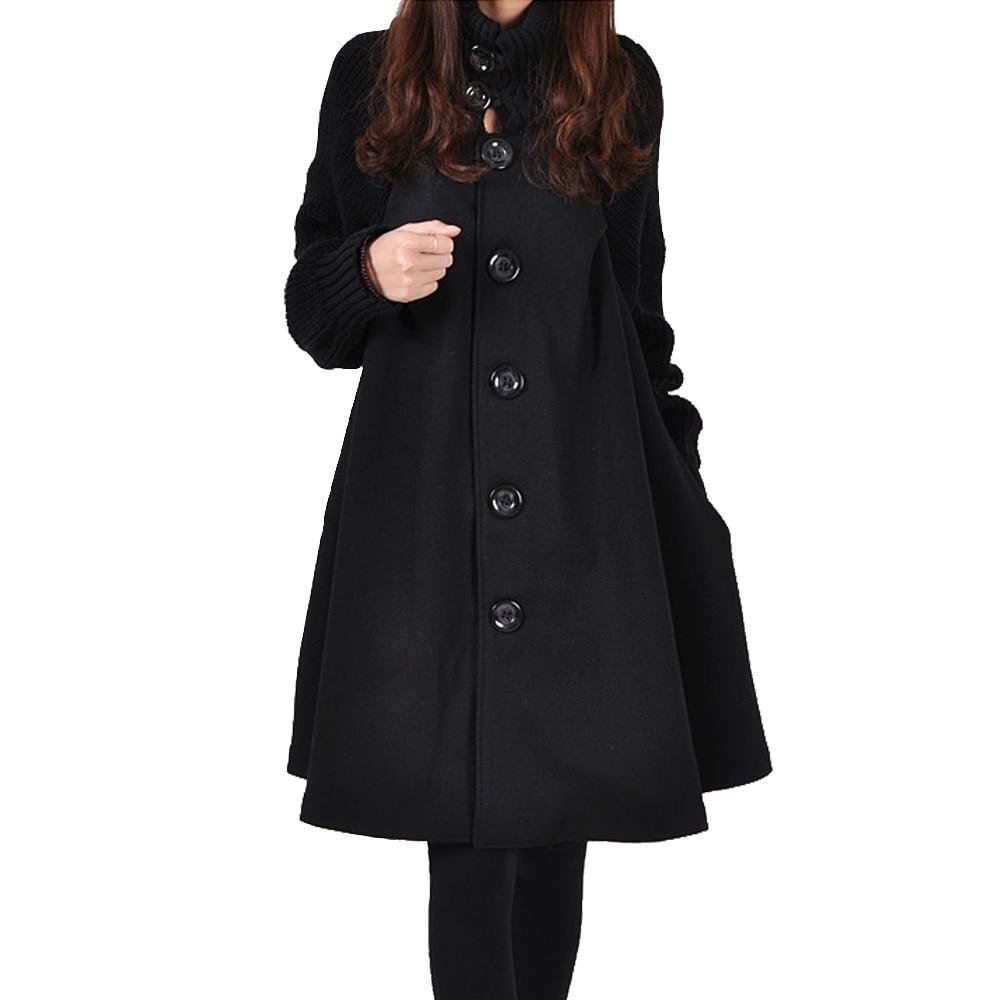Autumn Winter Coat Women 2019 Casual Vintage Patchwork Cloak Plus Size Coats Female Elegant Warm Black Long Coat casaco feminino 12