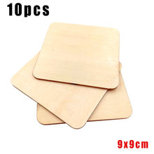 10pcs Wooden Pieces Square Coasters Plain Craft DIY Plaque Card making(China)