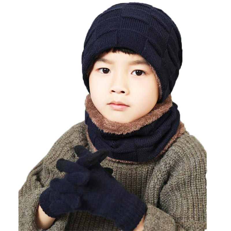 2019 Child Knitted Hat And Scarf Gloves Set Boys Girls Winter Warm Plush Hat 3 Piece Sets Kids New Outdoor Ski Cap Scarves Solid