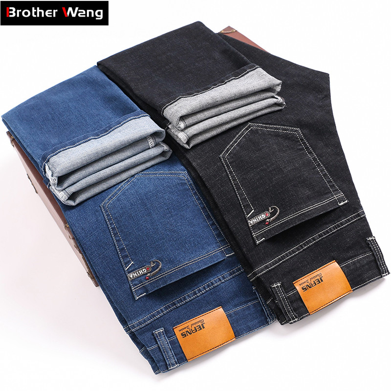 2019 Autumn Winter New Men's Thick Business Stretch Jeans Classic Style Brand Straight Denim Pants Male Trousers Black Blue