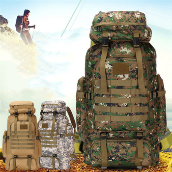 80L Waterproof Camo Tactical Backpack Military Army Hiking Camping Backpack Travel Rucksack Outdoor Sports Climbing Bag Bags & Shoes