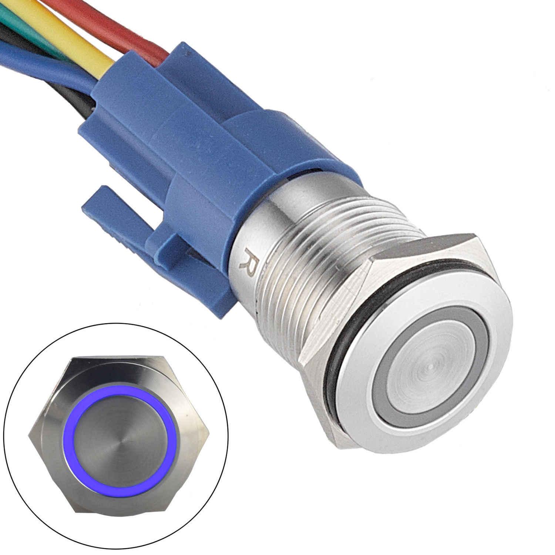 12 В DC кнопочный переключатель из нержавеющей стали светодиодный