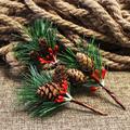 10 шт. рождественские ветки мини сосновые конусы реалистичные искусственные ветки искусственные стебли украшения для рождественской елки а...