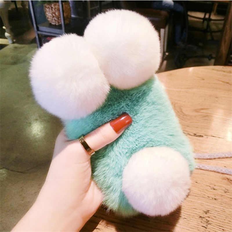 Etui na huawei Mate10 lite mate 20 lite Pro mate8 9 Pro Nova 2 Plus 3 3i 4 luksusowe zimowe ciepłe Panda bunny Fur phone cover/torba