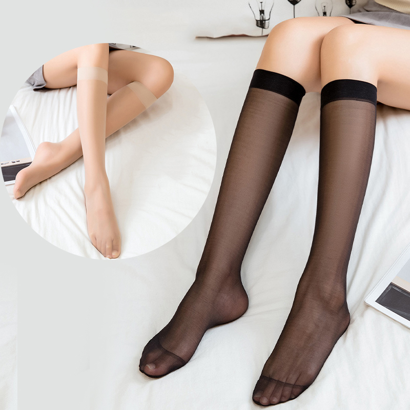 1/2pair Fashion Women's Nylon Socks Ultrathin Sexy Stockings Solid Color Transparent Over Knee Socks Crystal Silk Long High Sock