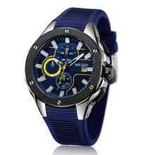 MEGIR Fashion man Sport watch Multi-function timekeeping calendar silicone strap quart men 2053