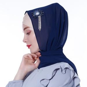 Image 4 - Женский шифоновый хиджаб ручной работы с цветами и кристаллами, шарфы, шаль, шарфы из Дубая, Малайзии, головные уборы, платок, простой шарф, шарфы с драгоценными камнями