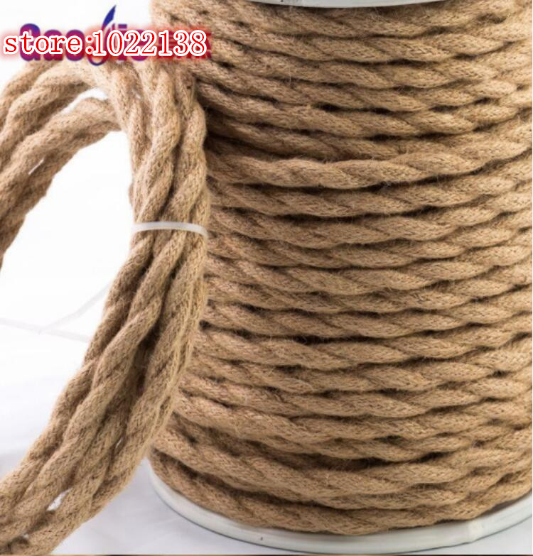 2*<font><b>0.75</b></font> Vintage Rope Textile Wire Twisted <font><b>Cable</b></font> Braided Electrical Wire Retro Pendant Light Lamp Line Vintage Lamp Cord 1/2/5/10M image