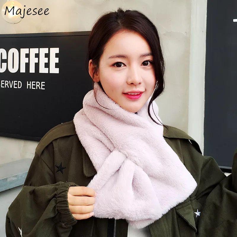 Женские шарфы из искусственного меха, зимние, теплые, Kawaii, корейский стиль, одноцветные, розовые, подходят ко всему, высокое качество, Harajuku