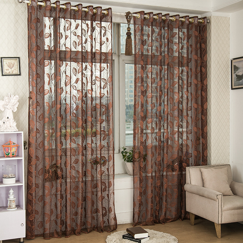 Fashion Floral Style Leaves Jacquard Design Tulle Curtains For Kitchen Balcony Bedroom Living Room