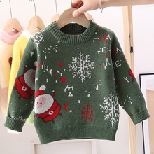Knitted Sweater Long-Sleeve Christmas Girls Boys Winter Kids Autumn Snowflake Thicken