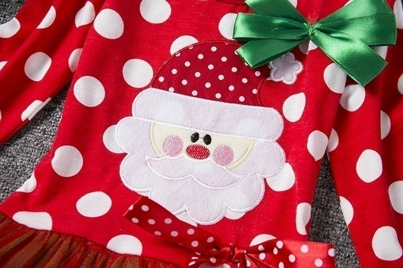 H9e53e071420b43d1a239f821f17d3240Y New Year Baby Girl Christmas Dress Girl's Merry Christmas Dress Children Kids Cotton Dot Dress Girls Tutu Santa Clus Costume