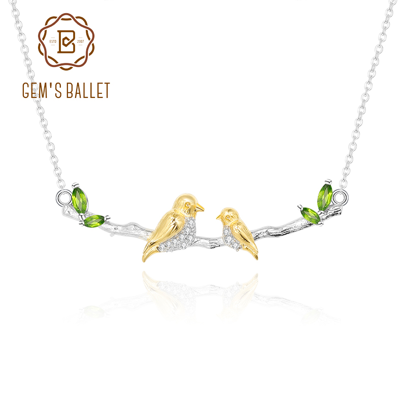 GEM'S BALLET 925 Sterling Silver Natural Chrome Diopside Birthstone Women's Pendant Necklace Mama's Wing Mother Bird Necklace