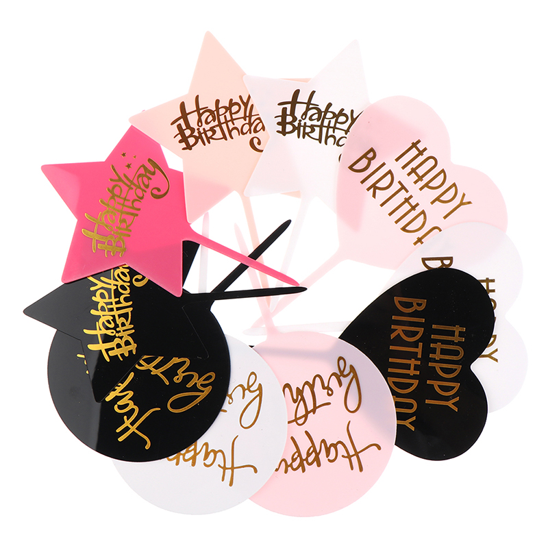 1Pc HAPPY BIRTHDAY Acrylic Cake Topper Dessert Baking Party Decoration-5