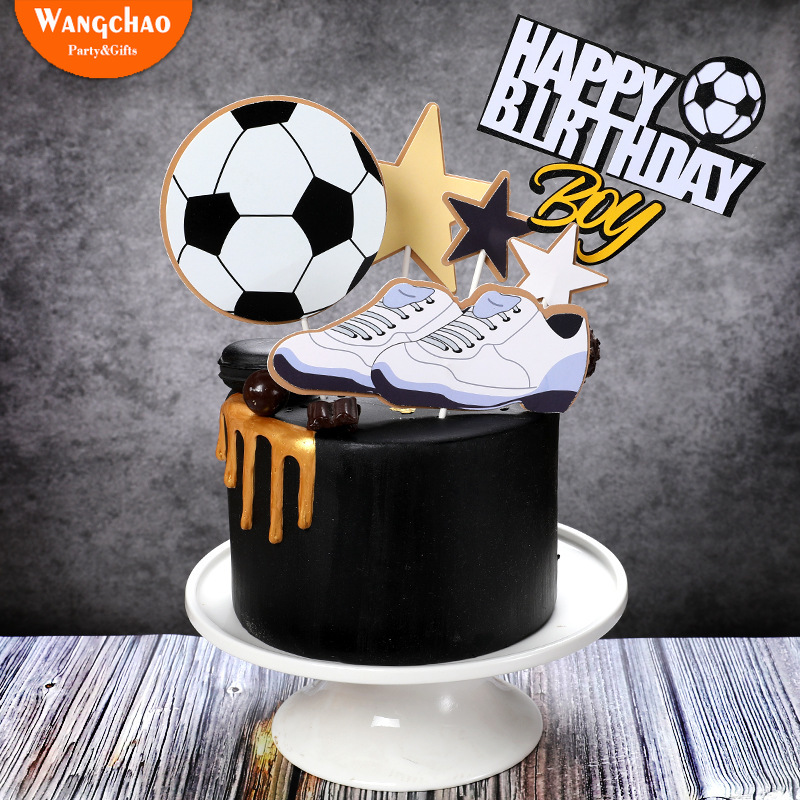 Astonishing 1Set Soccer Sports Basketball Theme Happy Birthday Cake Topper Funny Birthday Cards Online Aeocydamsfinfo