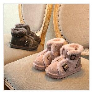 Image 4 - Inverno couro genuíno quente meninos & meninas sapatos crianças nova fivela de couro bota quente pelúcia ao ar livre crianças neve bota criança che06