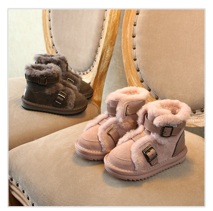 Winter Genuine Leather Warm Boys & Girls Shoes Children New Leather Buckle  Boot Warm Plush Outdoor Kids Snow Boot Toddler CHE06-in Boots from Mother & Kids