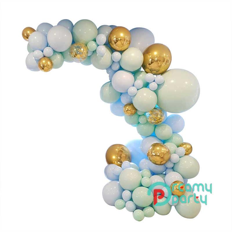 124 Pcs/set Macaron Biru Pastel Balon Garland Arch Kit Confetti Ulang Tahun Pernikahan Bayi Shower Pesta Ulang Tahun Dekorasi