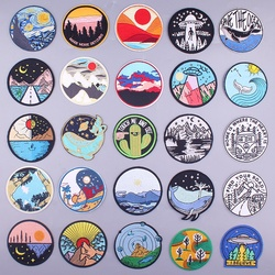 Prajna Van Gogh Parches Camp Embroidery Patches for Clothes Iron On UFO Patches For Clothing DIY Stripes Mountain Wave Stickers