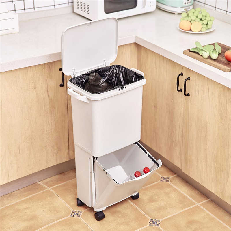 youpin 38l Plastic Large Capacity Kitchen Trash Can Double-deck Cover  Classified Dustbin Waterproof Storage Bucket Garbage Bag