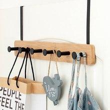 Crochet de montage de porte en bambou, organisateur de porte de chambre à coucher, cintre de vêtements pour pantalons et serviettes