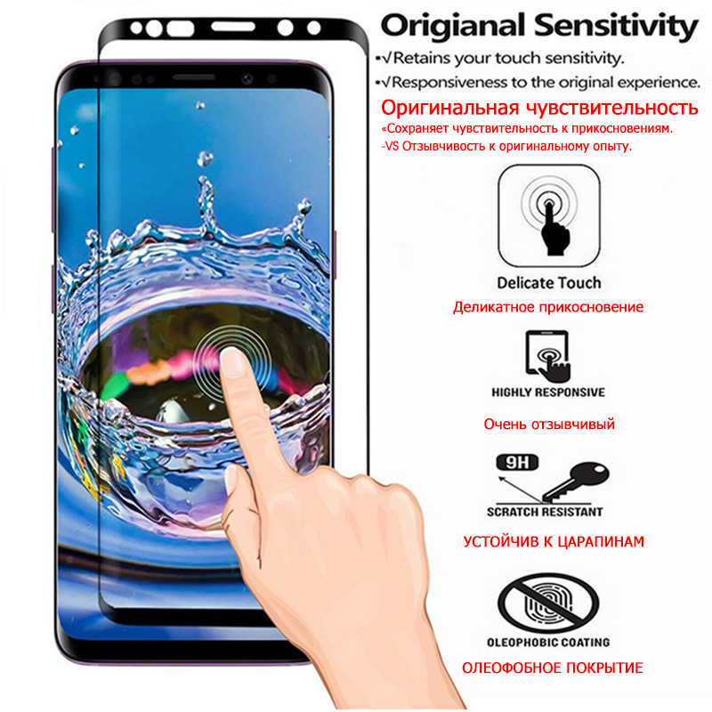 9000D tam kavisli temperli cam Samsung Galaxy S8 S9 artı not 9 8 ekran koruyucu için Samsung S6 S7 kenar koruyucu Film