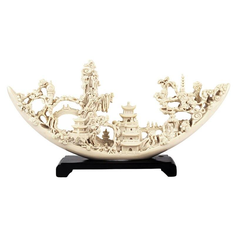 Imitação de marfim barco artware miniatura modelo escultura resina arte moderna estatueta ornamento decoração para casa acessórios decoração do quarto