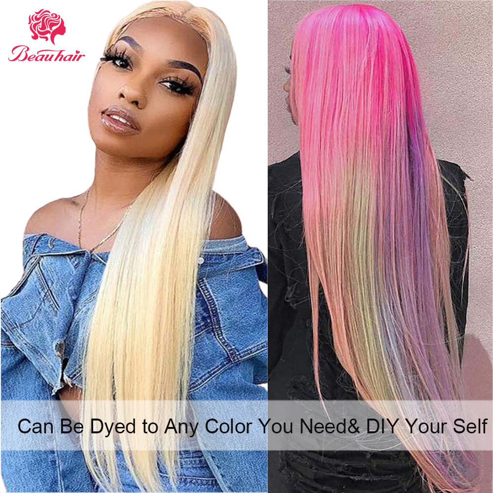 Brazilian Straight Pre Plucked 613 Blonde 4*4 Lace Closure Wig 100% Human Hair Remy Hair Weave For Women Natural Wig Beauhair