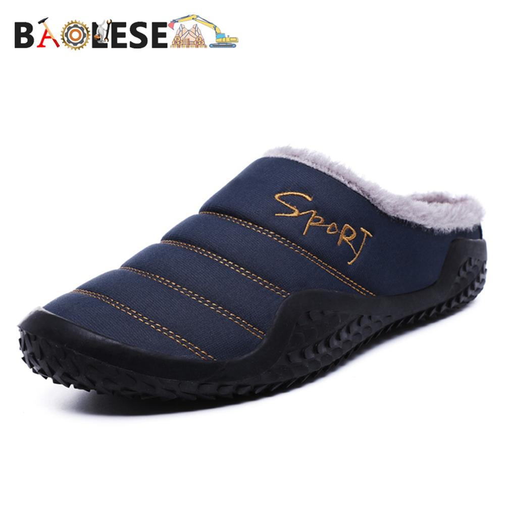 BAOLESEM Home Slippers Winter Man Slippers House Cotton Shoes Fleece Warm Anti-skid Man Slippers Plus Size High Quality(China)