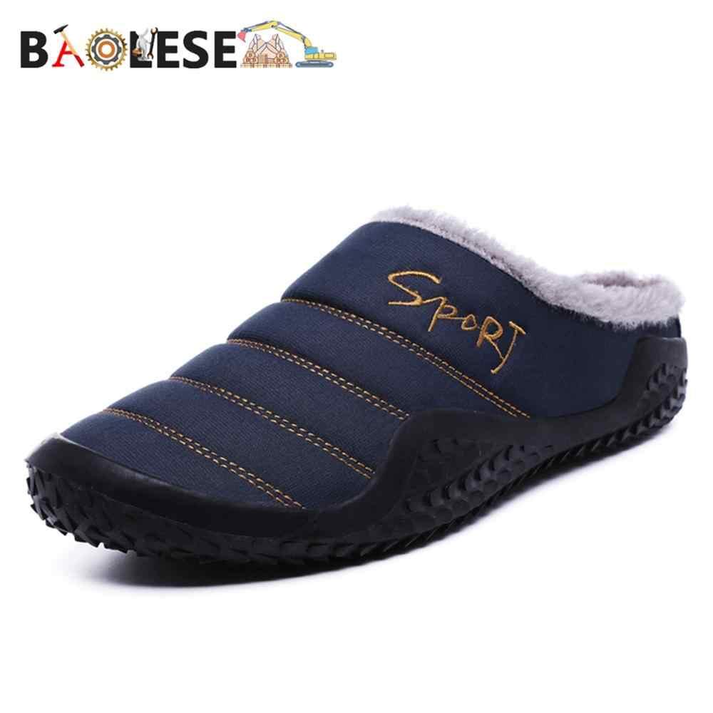 Baolesem casa chinelos homem chinelos de inverno casa de algodão sapatos de lã quente anti-skid homem chinelos plus size alta qualidade