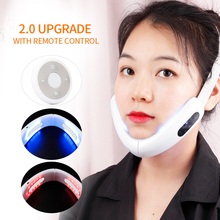 EMS V Face Lifting Up Massager Hot Compress Infrared Phototherapy Skin Tighten Anti Wrinkle Machine Reduce Double Chin Device