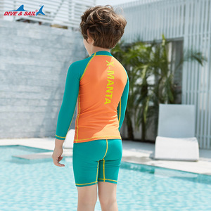 Image 2 - Dive & Sail dla dzieci chłopcy strój kąpielowy pływanie garnitur 2 sztuka zestaw UV50 + ochrona przed słońcem dla 3 9Y dzieci rashguardy surfowania plażowe stroje kąpielowe