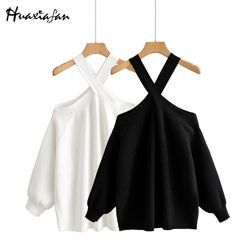 Huaxiafan Loose Off Shoulder Sweaters Women Fashion V Neck Solid Sweater Women Elegant Long Sleeve Sweaters Female Ladies