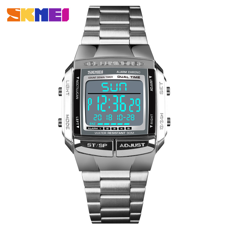 <font><b>SKMEI</b></font> <font><b>1381</b></font> Men's Digital Watch Retro Waterproof EL Light Stainless Steel Sport Military Electronic Watches Man Relogio Masculino image