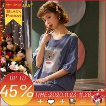 2020 novos pijamas para as mulheres pijamas homesuit homeclothes manga curta calças compridas dos desenhos animados impressão tripulação pescoço pj conjunto de pijamas
