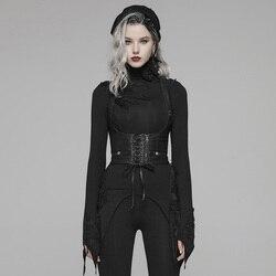 PUNKRAVE женские аксессуары в стиле панк для похудения из искусственной кожи, металлический корсет на молнии, аксессуары на Хэллоуин