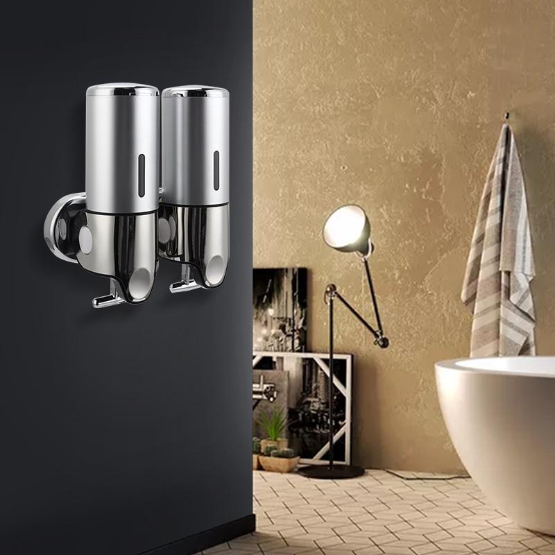 H9e55446ff3674594a2569d89d44272cer Liquid Soap Dispenser Wall Mounted Shower Gel Dispensers Shampoo Container Pump Double Hand Bathroom Soap Bottle Kitchen Tools