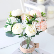 30CM Artificial Flowers White High Quality Silk Peony Bouquet Vases Home Decor Wedding Diy Christmas Indoor display Fake Plants