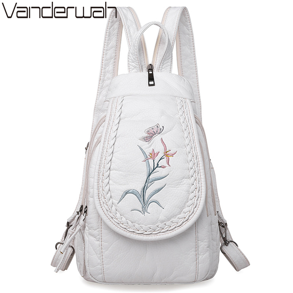 New Embroidery Orchid Women Backpack Casual  3 In 1 Backpack For Teenage Girls Soft Washed PU Leather Chest Bags For Women Sac