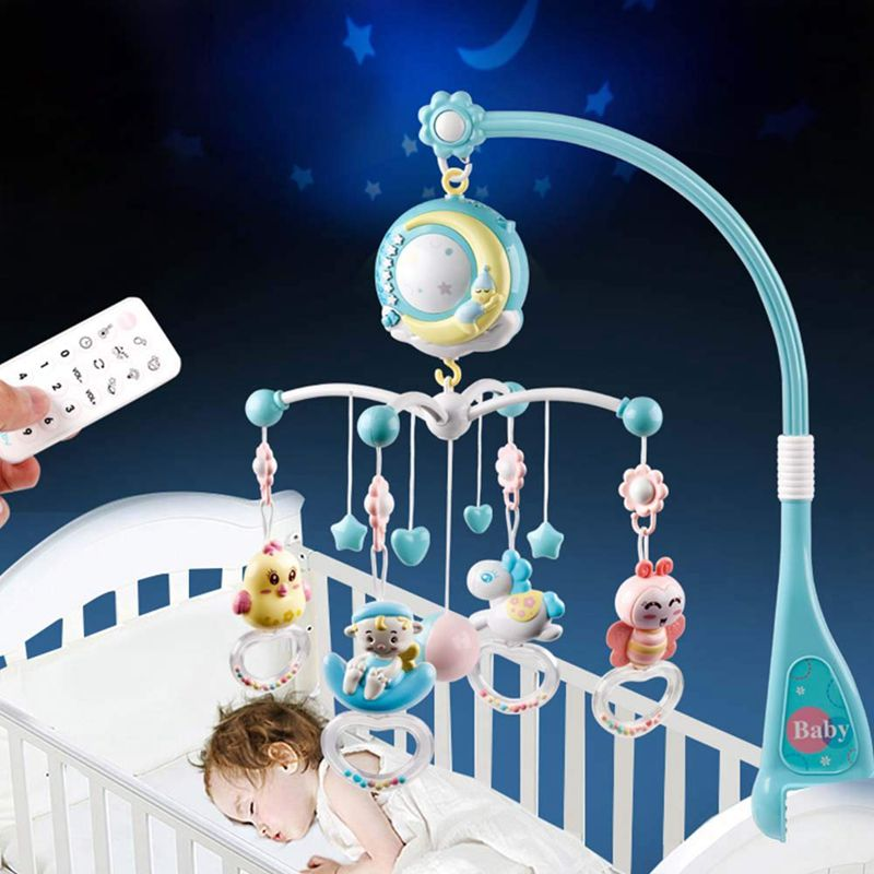 Baby Rattles Crib Mobiles Toy Holder Crib Mobile Bed Musical Box Projection 0-12Months Newborn Infant Baby Toys