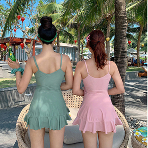 Image 3 - 女性の 2020 夏水着プッシュアップワンピース水着ベルト固体韓国水着水着女性スカート水泳スーツドレス