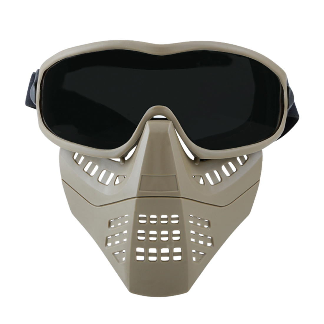 WST Outdoor Tactics Ant Type Mask Face Guard Protective Mask For Women And Children Head Size - Tan + BK Eyeglass