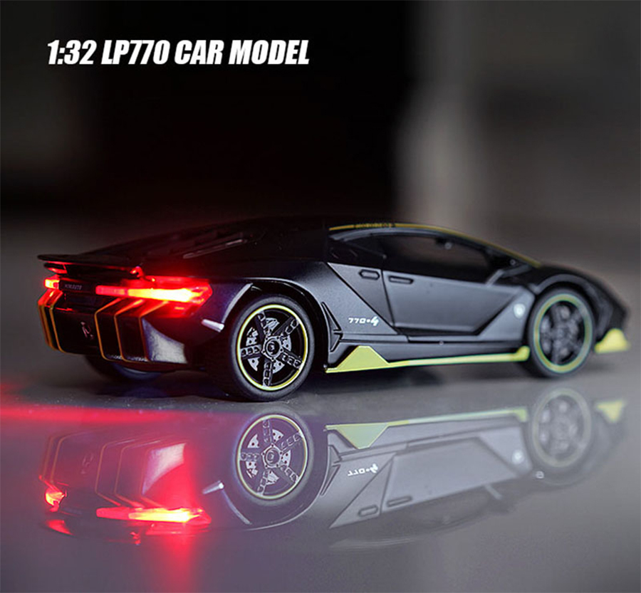 1:32 Scale Lambor 770 Diecast Vehicle Model Toy Cars Pull Back Car With Sound Light Gift Collection For Kids Adults Car Model#ZW