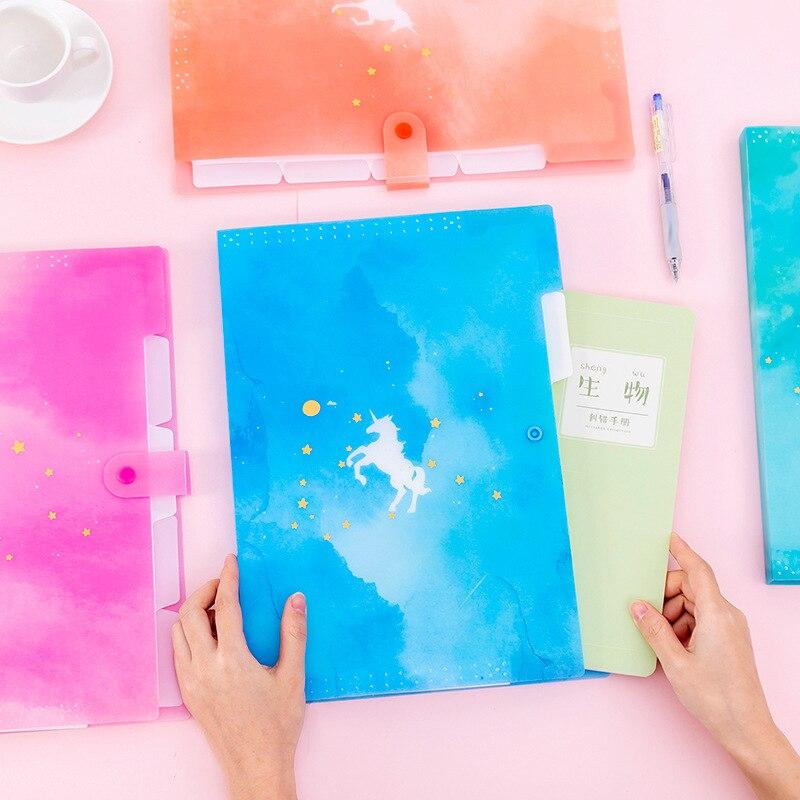 1 Pc Cute File Holder Fantasy Unicorn A4 Organ Bag Korea Ins 5 Grid Multi-layer Folder File Bag Stationey School Office Supplies