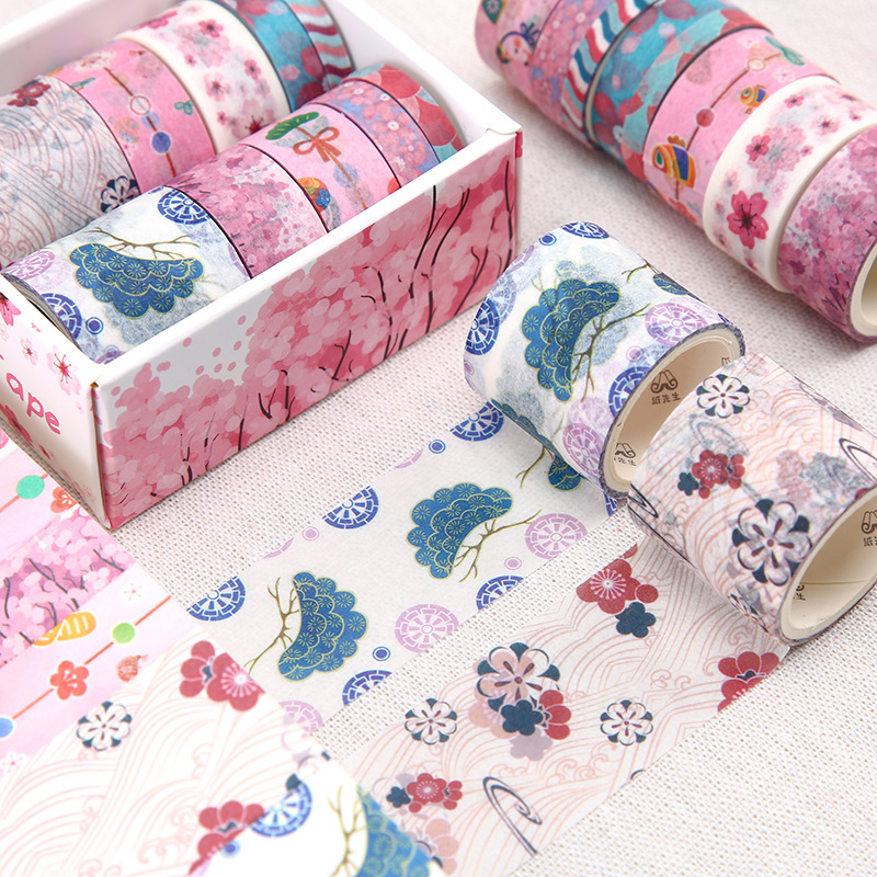 10Rolls/Pack Floral Washi Tape Diy Decoration Scrapbooking Planner Masking Tape Adhesive Tape Label Sticker Stationery Tool