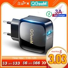 Cargador USB QGEEM QC 3,0 de carga rápida 3,0, cargador de teléfono para iPhone 18W3A, cargador rápido para Huawei, Samsung, Xiaomi, Redmi, enchufe europeo y estadounidense
