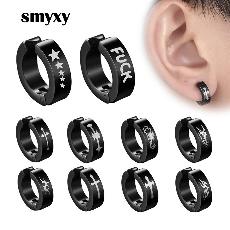 1piece Punk Titanium Steel Ear Clip Earrings For Men Women Print Pattern Black No Pierced Fake Ear Circle New Pop Jewelry(China)