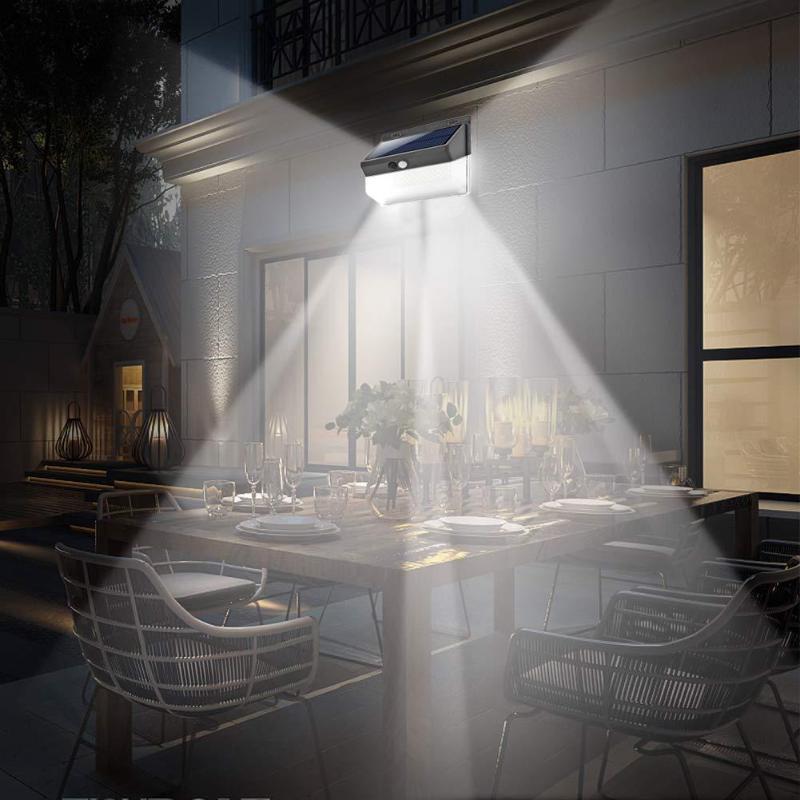 206/118LED Sensor de movimiento Solar luz de pared iluminación al aire libre impermeable lámpara de calle de jardín luminaria de ahorro de energía luz solar